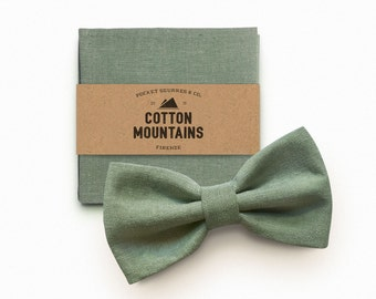 Bow Tie and handkerchief sage green for men, man's gift, wedding accessory, groomsmen gift - pre-tied and adjustable bowtie