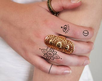 Finger tattoo set / finger temporary tattoo / heart temporary tattoo / small temporary tattoo / fake tattoo / ring tattoo / eye tattoo