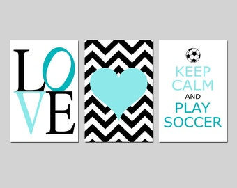 Soccer Decor for Girls Bedroom Decor Soccer Wall Art for Girl Set of 3 - Love, Chevron Heart, Keep Calm and Play Soccer - CHOOSE YOUR COLORS