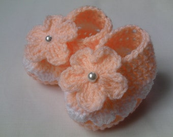 Crochet Baby Booties gift baby shower photo prop candy pink lilac white flower