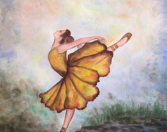 "Ballerina Happy Story Original watercolor painting 11""x14"""