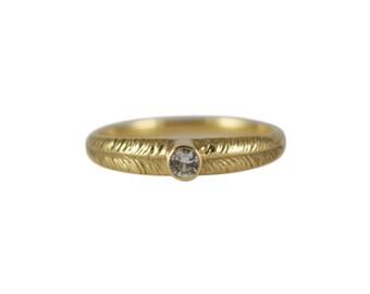 White Sapphire Palm Ring, September Birthstone Ring, Stackable Ring, Palm Leaf Ring, Silver Sapphire Ring, 14K Sapphire Ring, Thin Gold Ring