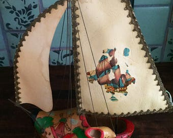 Vintage Dutch Wooden Clog Shoe Sailboat Lamp 60s - from Holland