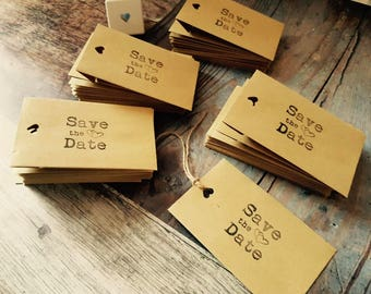 10 x Rustic SAVE THE DATE Wedding Envelopes Vintage Small Brown Handcrafted