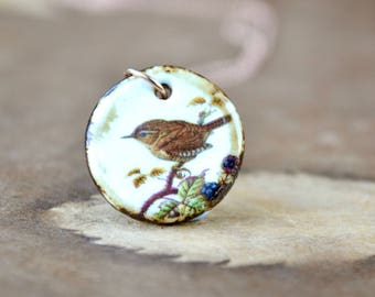 Little Wren Bird Necklace, Rose Gold Pendant, Bird Gifts, Little Bird Pendant, Ceramic Pendant Wren Jewelry, Bird Lover Gift Nature Necklace