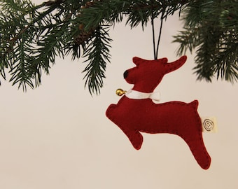 Nikkie's Felt Reindeer Ornament - Red