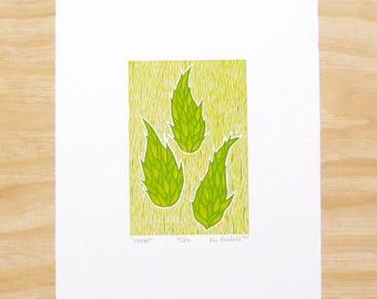 "Woodblock Print - ""Wheat"" - Green Hops Plant - Art Printmaking"