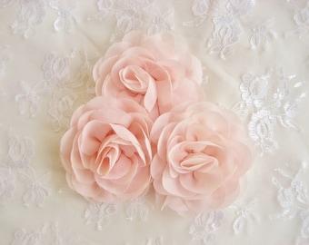 """Blush Pink Chiffon Flowers -  3.5"""" Blush Pink Hand-dyed Blush Flowers Wedding Sashes, Bouquets Blush Chiffon Flowers"""