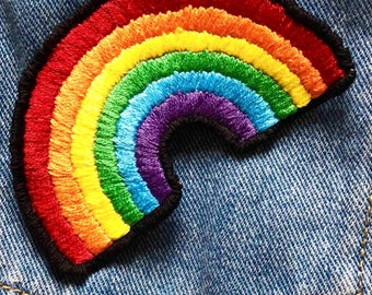 Rainbow Hand Embroided Iron On Patch