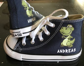 Dinosaur shoes Dinosaur Custom Converse Youth Shoes Personalized with name T-Rex