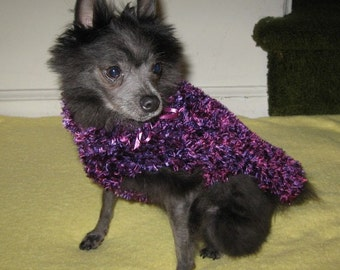Handknit Dog Sweater in Shades of Purple