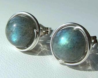 Labradorite Studs Labradorite Earrings Labradorite Post Earrings Wire Wrapped in Sterling Silver Stud Earrings 7-8mm