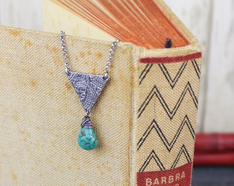 Turquoise Triangle Necklace, Natural Genuine Turquoise, Geometric Necklace, Sterling Fine Silver Gemstone Necklace, December