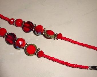 Red Beaded Eyeglass Holder Eyeglass Chain Handmade Glasses Chain Lanyard