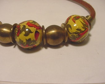Vintage Shillito's Early 1970's Ethnic Cermaic Metal And Leather Necklace     ZZ 7