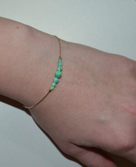 Green Opal Bracelet, Opal Jewelry, opal ball/bead bracelet, opal silver bracelet, simple/elegant tiny dot horizontal bar bracelet