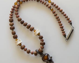 Wood and Bone Necklace with Sterling Silver Amber Pendant