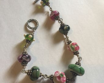 Beaded lampwork bracelet