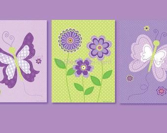 Kids wall art- Purple Butterfly print set