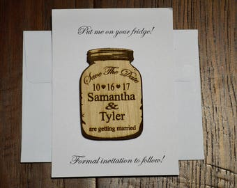 Mason Jar Save The Date Magnet with envelopes, Save The Date Magnet, Save The Date Magnet, Personalized Save The Date, Wedding Invitation