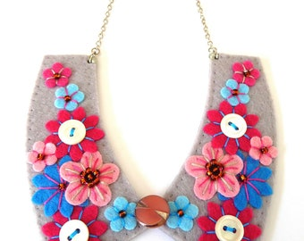 Collar Style Handmade Felt Statement Necklace with free form embroidery