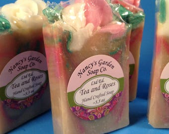 Tea & Roses Limited Edition Handcrafted Soap with Rose Embeds