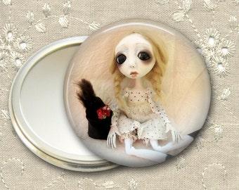 gothic doll pocket mirror,  original art  hand mirror, mirror for purse, bridesmaid gift, stocking stuffer MIR-AD55