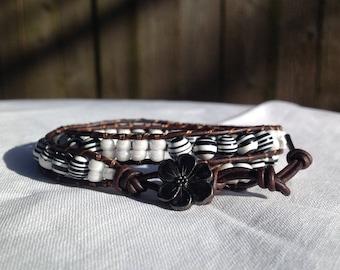 Black and White Leather Wrap Bracelet, Turquoise Bracelet, Flower Bracelet, Boho Bracelet, Bohemian Jewelry, Hippie Bracelet