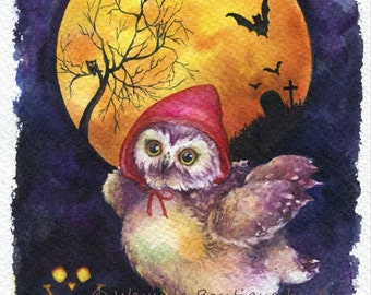 """PRINT – Trick or Treat  Watercolor painting 7.5 x 11"""""""