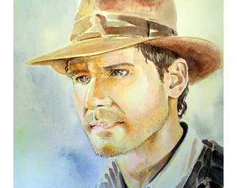 "Harrison Ford as Indiana Jones, Watercolor Painting - 11"" x 15"" Limited, #'d Edtion, Print run of 25"