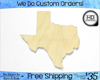 Texas TX High Definition Borders State Cutout - Large & Small - Pick Size - Laser Cut Unfinished Wood Cutout Shapes (SO-0010-43)*1-32