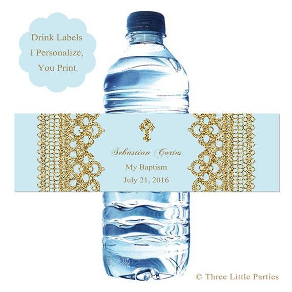 Water Bottle In Spanish: Printable Baptism Water Bottle Wraps Faux Glitter