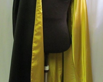 Lined Satin Costume Cape with Collar Adult Size S M L XL Costume Cosplay Cloak Reversible