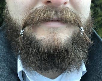 Mustache Bead Kit #1 beard beads beard rings Viking beard beads Celtic steampunk mustache kit