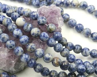 Lot of 5 strands 8mm Blue Spot Jasper (N) Loose Spacer Beads Round 15.5 inch strand (BD5894)