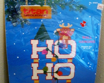 "On Sale, Titan Needlecraft, Plastic Canvas Kit, Wall Hanging, Christmas ""Ho Ho Ho"", w/Rudolph, 10 x 19"", 1990, New Kit, VINTAGE"