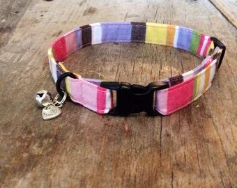 Pastel striped cat collar