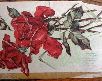 vintage POSTCARDS ...RED ROSES FLoral worn stamped 1909  ...