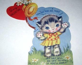 Vintage Unused Children's Novelty Valentine Greeting Card with Grey and White Tabby Cat and Hat NOS