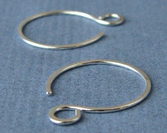 Sterling Silver Earwires, Handmade Hippie Hoops, Earring Findings, 2 pairs