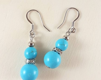 Dangle earrings, Drop earrings, Turquoise Howlite earrings, Everyday earrings, Natural stone earrings, Crystal earrings, Boho earrings, Gift
