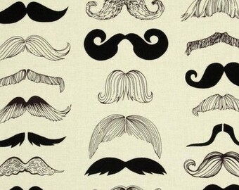 Fabric patchwork fabric mustache, Alexander Henry white, cream