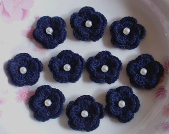 10 Crochet Flowers In Navy With Pearl  YH-190-01