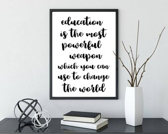 Printable Poster, Wall Art, Eduction Quote, Typography Printable, Quote Wall Art, Inspirational Poster, Printable Quote, Motivational Art