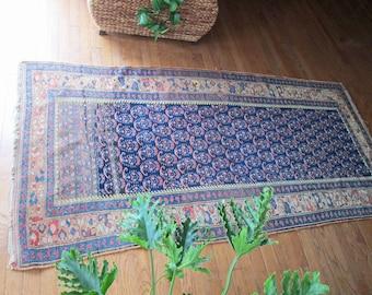 Reversible Antique Kilim Style Flat Weave Turkish Rug Red Blue