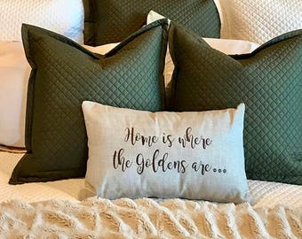 Home is Where the Goldens are Throw Pillow