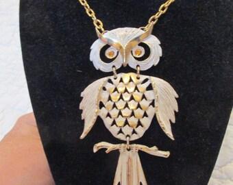 Vintage Owl Necklace Great Retro Piece Rhinestone Eyes SALE