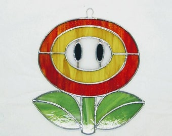 Mario inspired stained glass fire flower