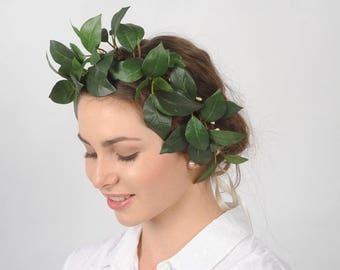 Green Leaf Crown Greenery Headband Leaves Headdress Woodland Wedding Head Wreath Boho Hair Piece Rustic Headpiece Race Day Fascinator