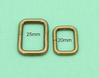 20mm/25mm Rectangle Rings - Antique Bronze - Handbag Hardware Australia